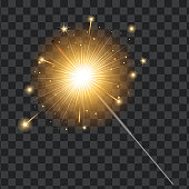 Vector realistic sparkler on transparent background illustration. Christmas, new year winter holiday Bengal light, glowing firework Xmas greeting card, ad design object.