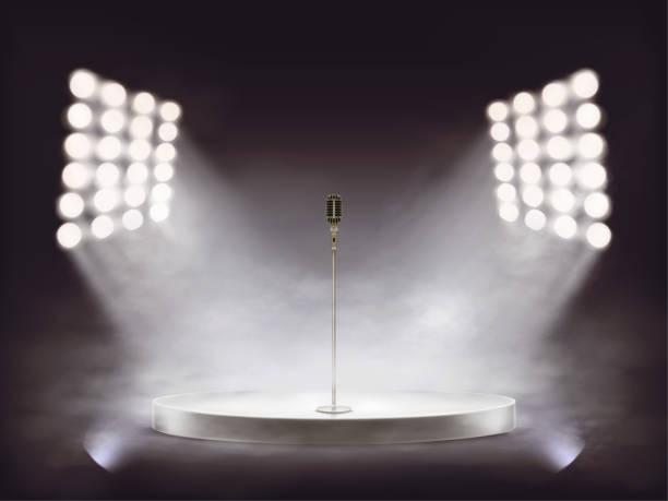 マイクと煙でベクトル現実的な段階 - ステージ点のイラスト素材/クリップアート素材/マンガ素材/アイコン素材