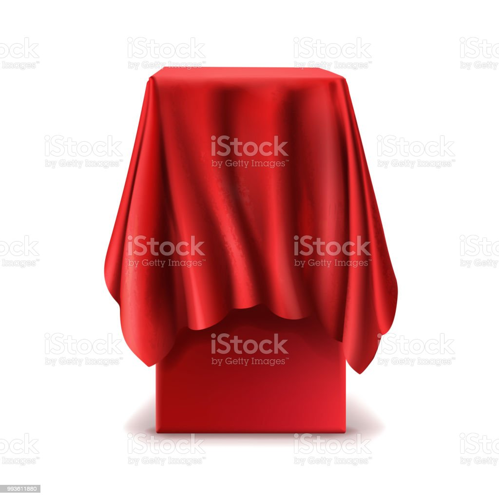 Vector realistic stand covered with red silk cloth vector art illustration