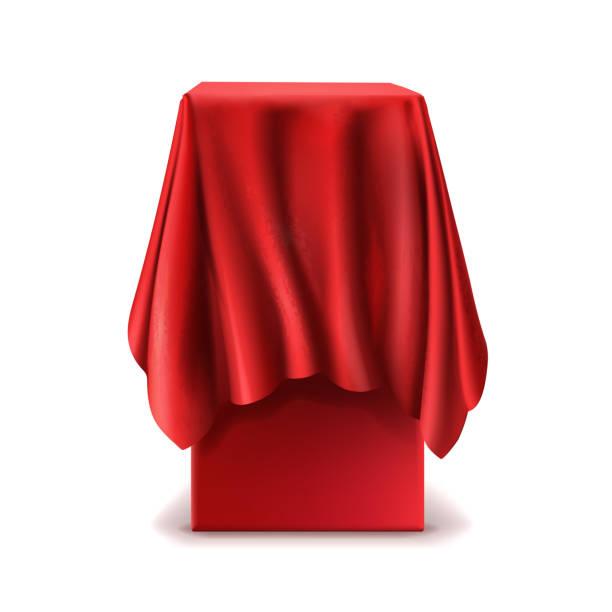 realistische vektor stehen mit roten seidentuch bedeckt - entdeckungskiste stock-grafiken, -clipart, -cartoons und -symbole