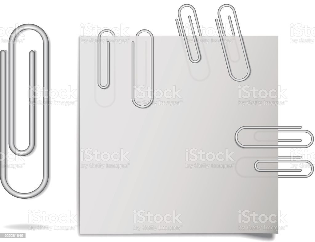 Vector realistic steel paper clips in different positions. vector art illustration