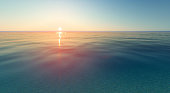 Vector realistic sunset and sea water