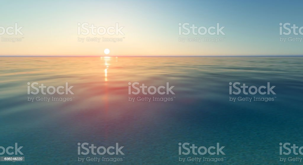 Vector realistic sunset and sea water - ilustración de arte vectorial