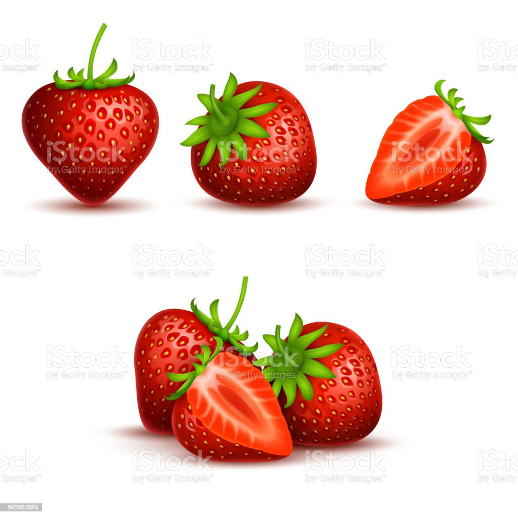 Vector realistic sweet and fresh strawberry isolated on white background vector art illustration