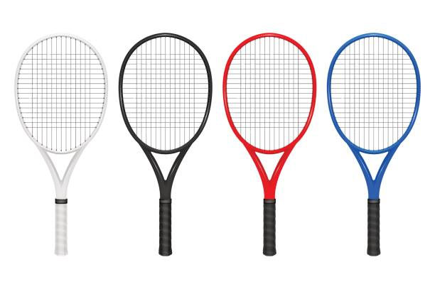 Vector realistic tennis racket set, closeup isolated on white background. Design template in EPS10 Vector realistic tennis racket set, closeup isolated on white background. Design template, EPS10 illustration. racket stock illustrations