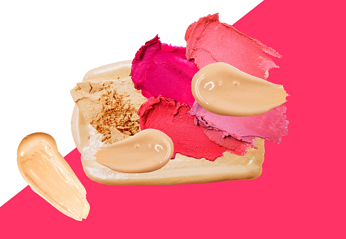 Vector realistic textured makeup composition with red and pink lipstick smear smudge, face powder and foundation, make up design, beautician textured background, make-up sale banner, concealer or bb cream liquid consistency