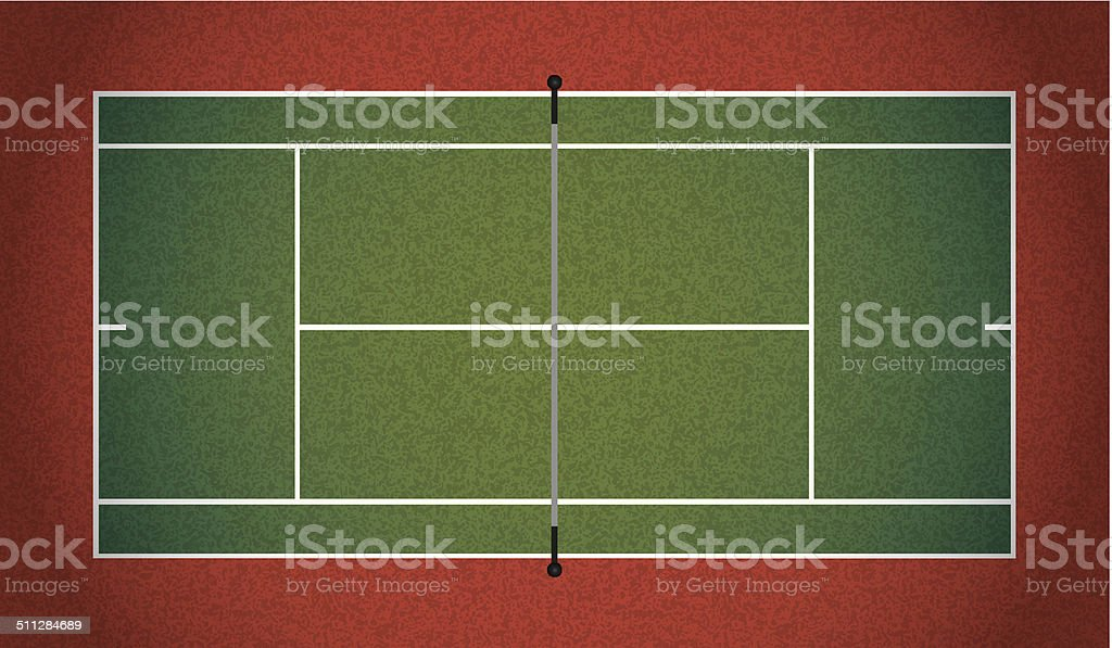 Vector Realistic Textured Tennis Court Illustration vector art illustration