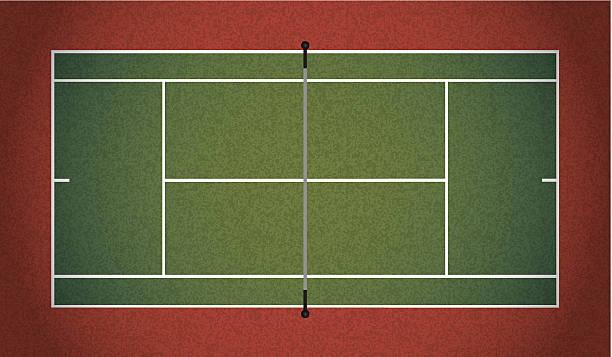 vector realistic textured tennis court illustration - tennis stock illustrations, clip art, cartoons, & icons