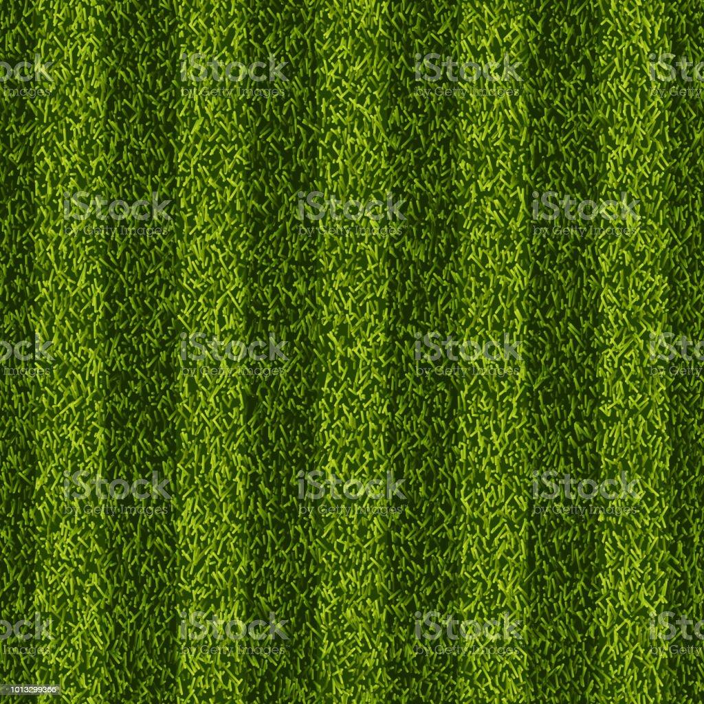 Vector realistic top view illustration of soccer green grass field. Seamless striped line football stadium texture. vector art illustration