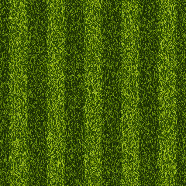 Vector realistic top view illustration of soccer green grass field. Seamless striped line football stadium texture. Vector realistic top view illustration of soccer green grass field. Seamless striped line football stadium texture. Sports lawn background. turf stock illustrations