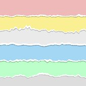 Vector realistic torn paper set on colored backgrounds. Horizontal stripes with a soft shadow. Torn Paper Edge. Multi-colored stripes. Vector illustration.