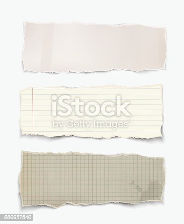 istock Vector realistic torn pieces of paper. 686957546
