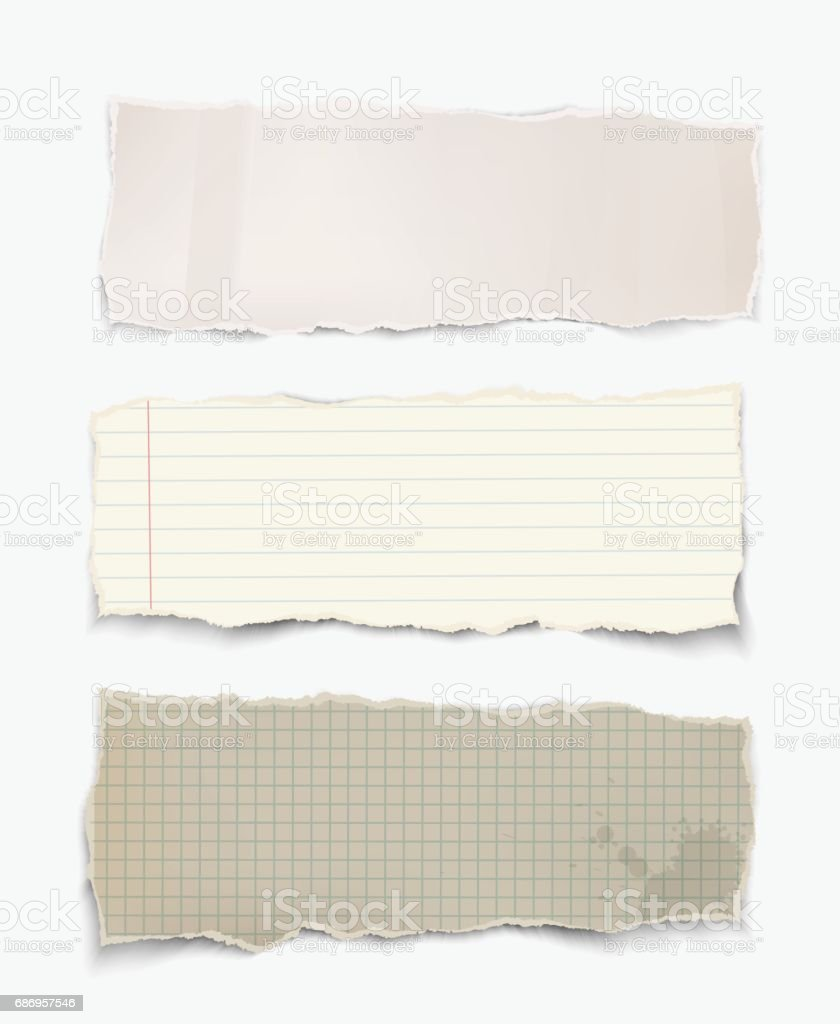 Vector realistic torn pieces of paper. vector art illustration