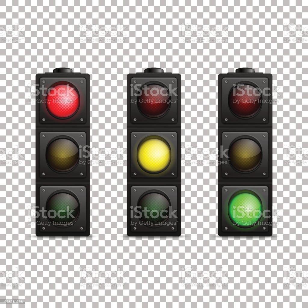 Vector conjunto de semáforo realista. Aislado. Luz de fondo LED. Color rojo, amarillo y verde. Plantilla de diseño en EPS10 - ilustración de arte vectorial