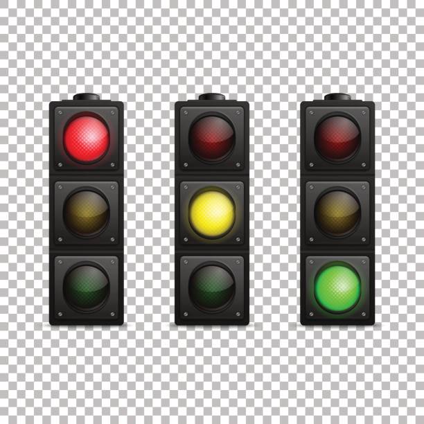 vector realistic traffic light set. isolated. led backlight. red, yellow and green color. design template in eps10 - stoplights stock illustrations, clip art, cartoons, & icons