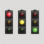 Vector realistic traffic light set. Isolated. Led backlight. Red, yellow and green color. Design template in EPS10