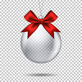 Vector realistic transparent christmas ball, isolated.