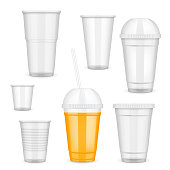 Vector realistic transparent disposable plastic cup set