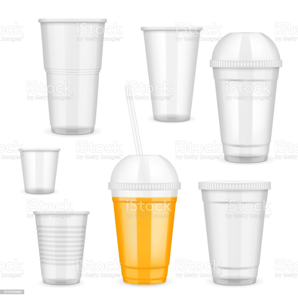 Vector realistic transparent disposable plastic cup set vector art illustration