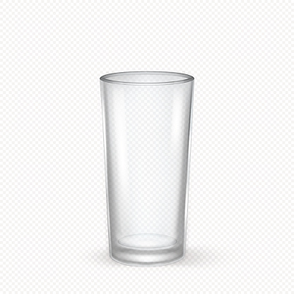 Vector realistic transparent empty glass closeup isolated on transparent background. Design template for advertise, branding, mockup. EPS10