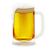 Realistic vector transparent foamy beer glass. Alcohol drink glass icon 3D illustration