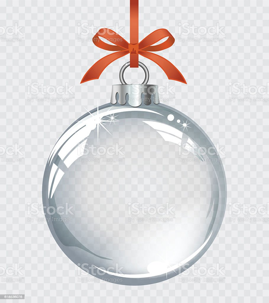 Vector Realistic Transparent Silver Christmas Ball Stock