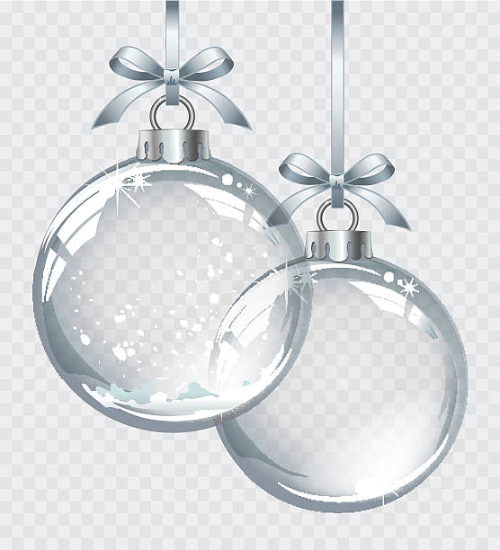 illustrazioni stock, clip art, cartoni animati e icone di tendenza di vector realistic transparent silver christmas ball with snow - glass world