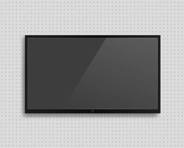ilustrações de stock, clip art, desenhos animados e ícones de vector realistic tv screen with shadow - led painel