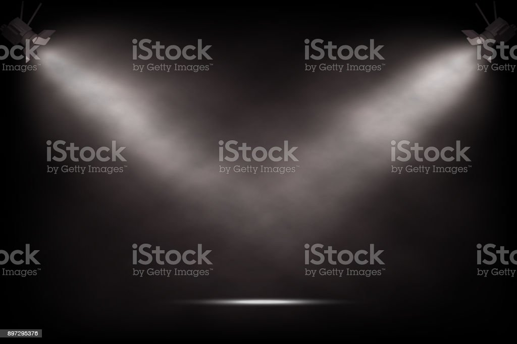 Vector realistic vintage spotlights. Theater or show stage background. vector art illustration