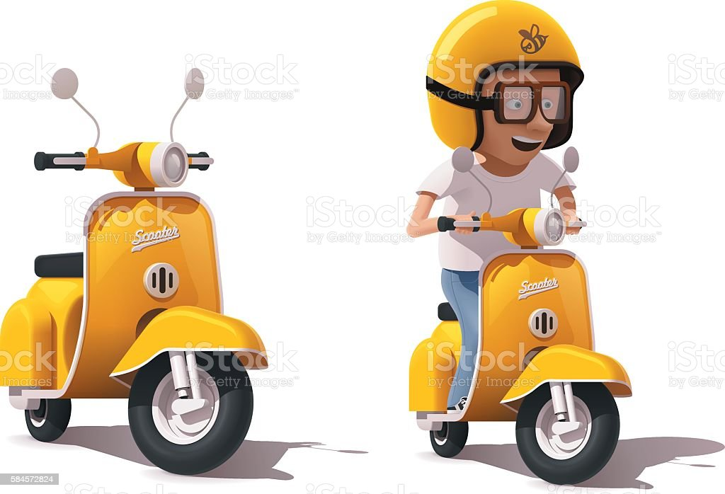 Vector realistic vintage yellow scooter and scooter driver icon vector art illustration