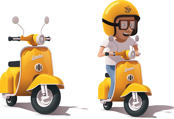 vector realistic vintage yellow scooter and scooter driver icon - moped stock-grafiken, -clipart, -cartoons und -symbole