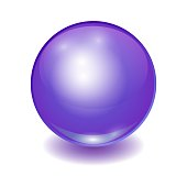 Vector realistic violet multicolor ball, shine sphere with patch of light on white background. 3D illustration.