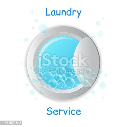 Vector realistic washing-machine door with soup bubbles isolated on white background. Laundry template. 3D illustration.