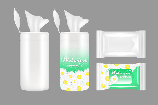 illustrazioni stock, clip art, cartoni animati e icone di tendenza di vector realistic wet wipes packaging mockup set - salvietta umidificata