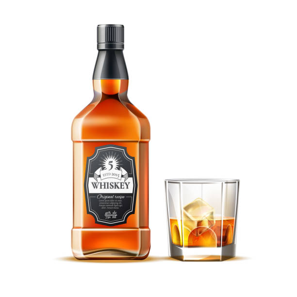 vector realistic whiskey, rum or brandy bottles - whisky stock illustrations