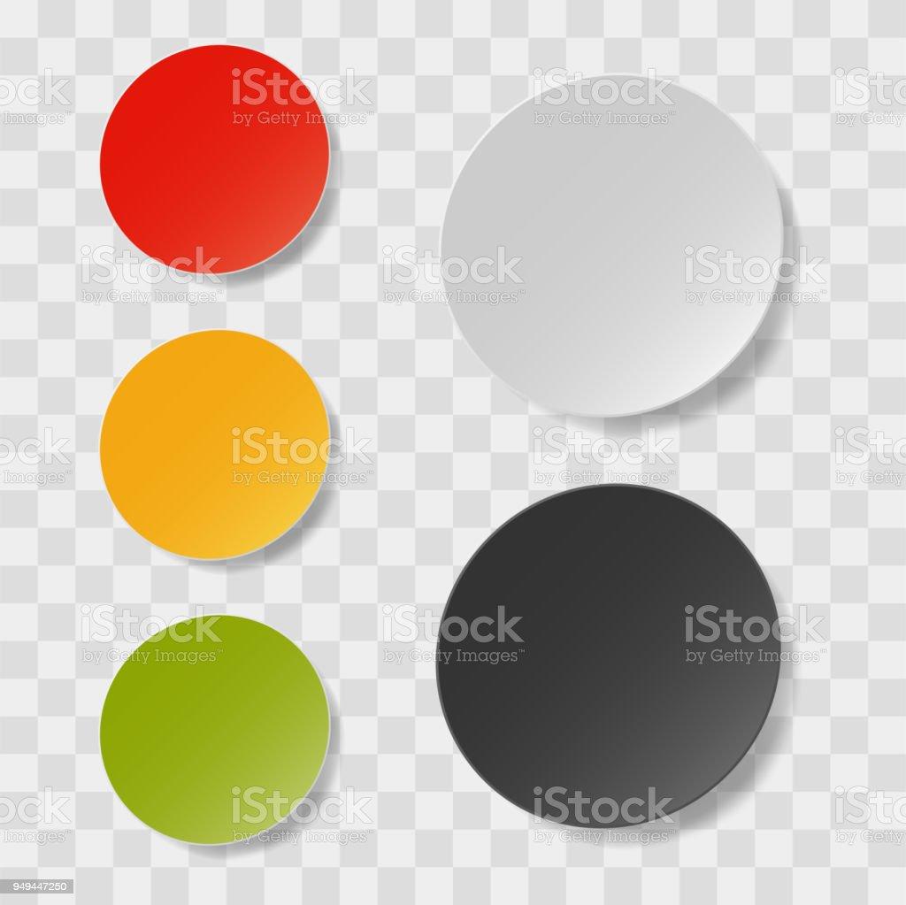 Vektor Realistisch Weiß Und Schwarz Und Farbe Runden Aufkleber Label ...