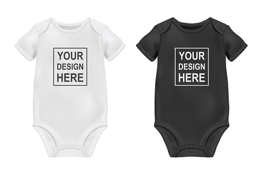 Vector Realistic White and Black Blank Baby Bodysuit Template, Mock-up Closeup Isolated on White. Front and Back Side. Body children, baby shirt, onesie. Accessories, clothes for newborns. Top view