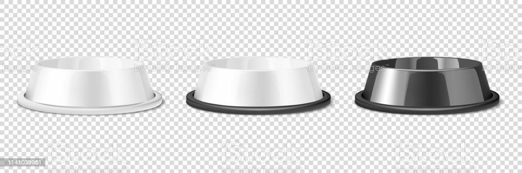 Vector Realistic White And Black Blank Plastic Or Metal Pet Bowl Icon Set Mockup Closeup Isolated On Transparent Background Design Template Of Bowl For Pet Cat Animal Food For Mockup Front View