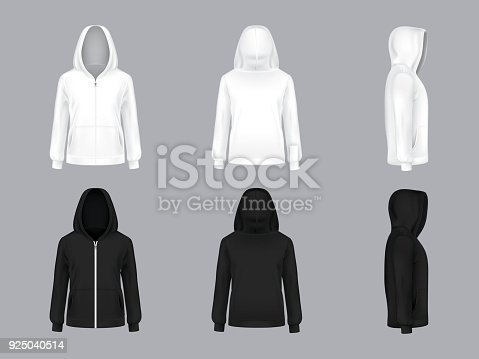 Vector realistic white and black hoodie with long sleeves and pockets, front, back, side view, casual unisex model, sportswear, sweatshirt with hood isolated on background. Mockup for clothes design