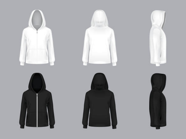 Vector realistic white and black hoodie models Vector realistic white and black hoodie with long sleeves and pockets, front, back, side view, casual unisex model, sportswear, sweatshirt with hood isolated on background. Mockup for clothes design hot pockets stock illustrations