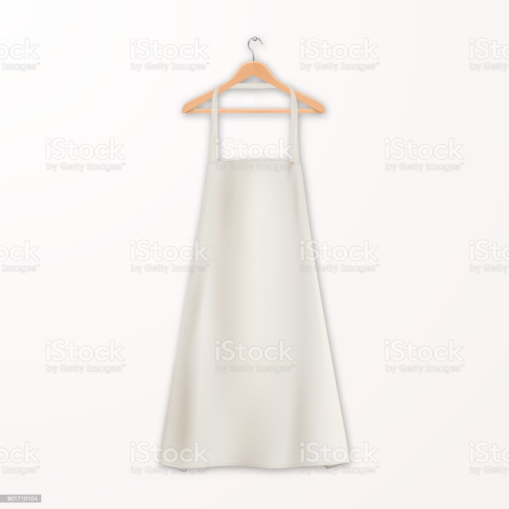 vector realistic white blank cotton kitchen apron with clothes