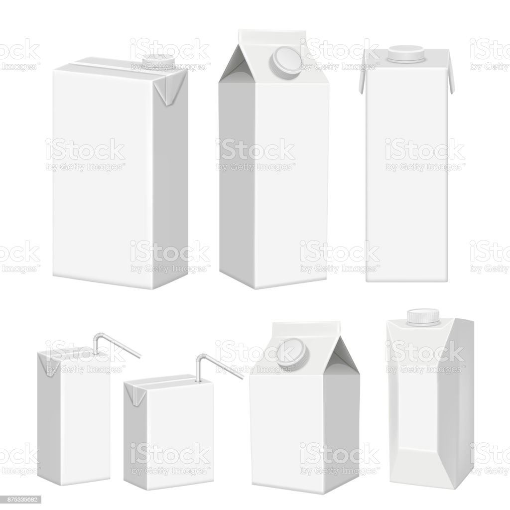vector realistic white blank juice carton package template set stock