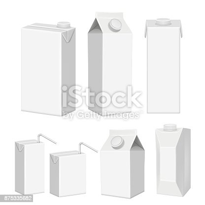 Vector set of juice cartons. White blank juice paper package realistic templates, mockups isolated on white background.