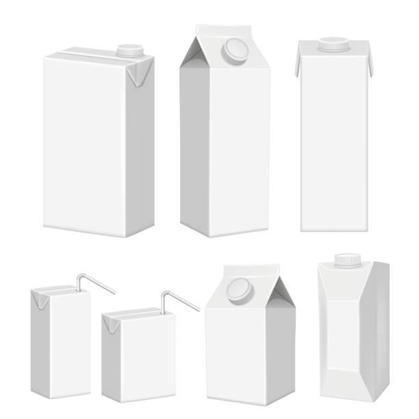 vector realistic white blank juice carton package template set - karton zbiornik stock illustrations