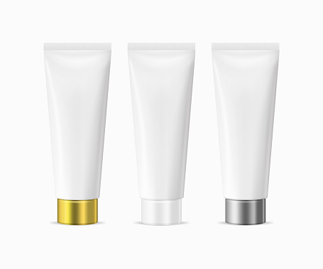 Vector realistic white blank plastic closed beauty cosmetic tube set isolated on white background.