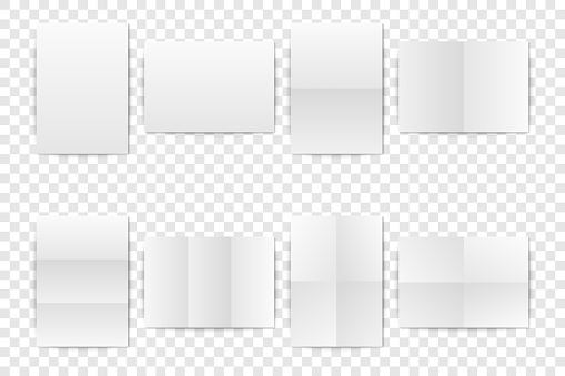 Vector Realistic White Blank Vertical A4 Folded Paper Sheet, Poster, Opened Booklet mock-up set closeup isolated. Design Template for Mockup of Empty Paper Cover or Flyer. Front or Top view