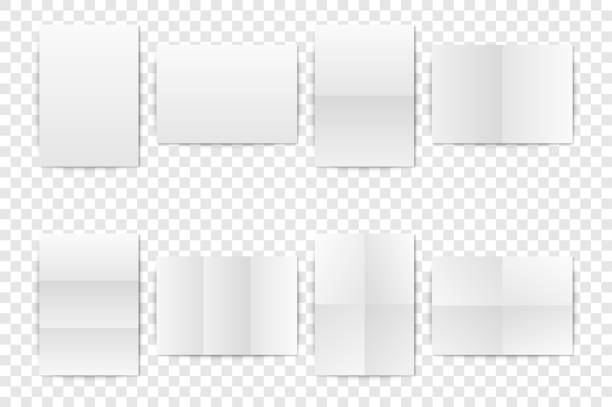 vector realistic white blank vertical a4 folded paper sheet, poster, opened booklet mock-up set closeup isolated. design template for mockup of empty paper cover or flyer. front or top view - składany stan stock illustrations