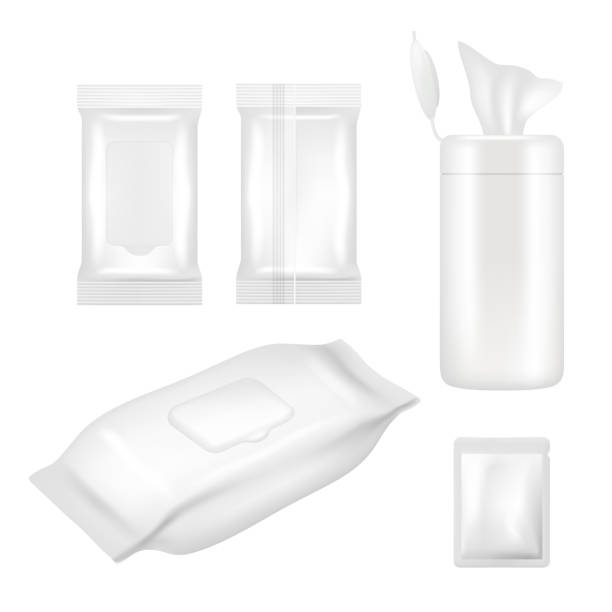 illustrazioni stock, clip art, cartoni animati e icone di tendenza di vector realistic white blank wet wipes packaging mockup set - salvietta umidificata