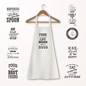 Vector realistic white cotton kitchen apron with clothes wooden hanger and quotes about food set closeup isolated on white. Design template, mock up for branding, graphics, advertising, printing