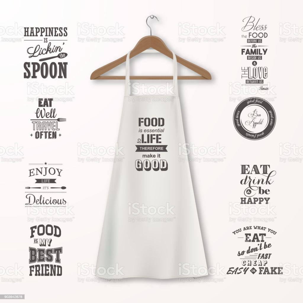 Vector realistic white cotton kitchen apron with clothes wooden hanger and quotes about food set closeup isolated on white. Design template, mock up for branding, graphics, advertising, printing vector art illustration